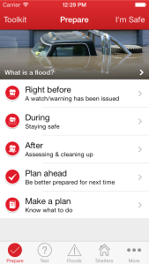 Screen Shot from the Flood App, now available from the American Red Cross.