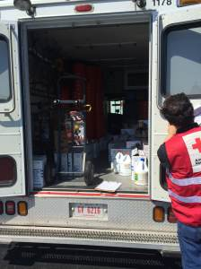 The Red Cross Emergency Response Vehicle (ERV) loaded with bleach and buckets donated by Home Depot, May 2014