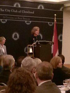Gail McGovern, CEO of the American Red Cross, speaks at the City Club of Cleveland.