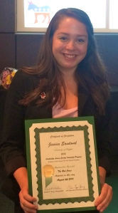 Jessica Sandoval, a summer intern with the Lorain County Chapter, displays her Leadership Lorain certificate.