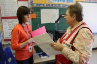 Fifth grade teacher Pam Ventimiglia and Red Cross volunteer Alice Martinez