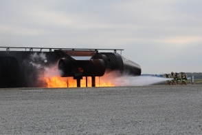 Simulated wreckage and fire