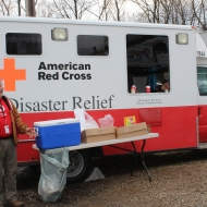 Volunteer Chuck Victor Outside the Emergency Response Vehicle