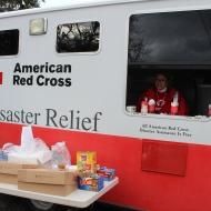Volunteer Kim Strawman Inside the Emergency Response Vehicle
