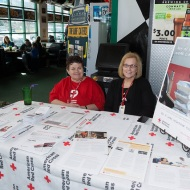 Red Cross volunteers Joyce Fate and Caroline Grant
