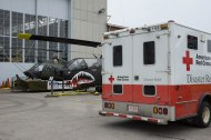 Historical helicopter and current Red Cross Emergency Response Vehicle