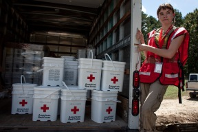 August 19, 2016. Denham Springs, Louisiana. Red Cross volunteer Sarah Carman delivers relief supplies in Denham Springs, Louisiana. Photo by: Marko Kokic/American Red Cross