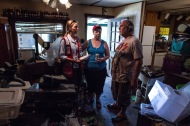 August 19, 2016. Denham Springs, Louisiana. Judy and Randy Bergeron show Red Cross relief worker Lynette Nyman their home after the flood. Photo by: Marko Kokic/American Red Cross