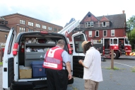 Greater Cleveland Chapter Disaster Program Manager Jeremy Bayer offers assistance