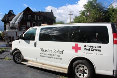 Greater Cleveland Chapter Disaster Relief Van on the scene of a fire on E. 82nd. St.