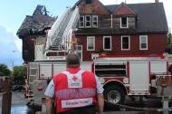 Greater Cleveland Chapter Disaster Program Manager Jeremy Bayer surveys the damage