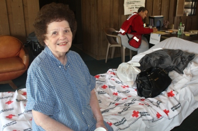 Cuyahoga Falls resident Martha Stadler thanked Red Cross Disaster Relief workers for the food, coffee, and financial assistance they provided following Thursday's fire.