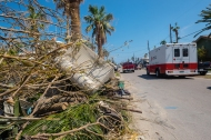 September 2, 2017. Port Aransas, Texas. An Emergency Response Vehicle drives through Port Aransas, Texas. Photo by Chuck Haupt/American Red Cross