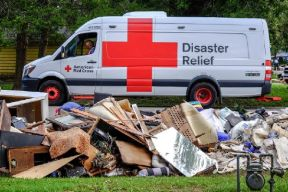 September 8, 2017. Wharton, Texas. A scene from Wharton, Texas, showing the extent of damage caused by Hurricane Harvey to a neighborhood. This photo also shows the new generation Emergency Response Vehicle. Photo by Chuck Haupt for the American Red Cross
