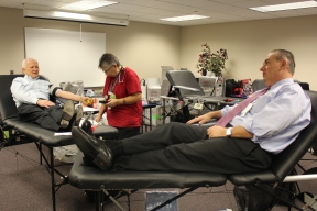 Schron was joined at the Jergens blood drive by Mike Parks, CEO of the Red Cross of Northeast Ohio
