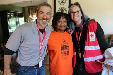 Red Cross Regional COO Jorge Martinez, Bedford Heights resident Lucy Garnett-Johnson, and Melissa Cutler