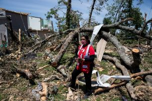 April 26, 2020. Onalaska, Texas. Liesa Hackett of The American Red Cross does damage assessment in Onalaska, TX, on Sunday, April 26, 2020. A powerful tornado damaged hundreds of homes in the community earlier in the week. Photo by Scott Dalton/American Red Cross