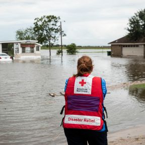 July 28, 2020. Edcouch, Texas Juanita Casanova of the American Red Cross surveys flooding caused by Hurricane Hanna, on the outskirts of Edcouch, TX on Tuesday July 28, 2020. Photo by Scott Dalton/American Red Cross
